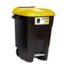 WASTE BIN/YELLOW/WITH PEDAL/WHEELS/100L