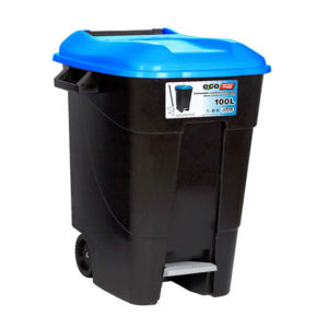 WASTE BIN/BLUE/WITH PEDAL/WHEELS/100L