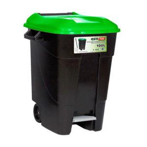 WASTE BIN/GREEN/WITH PEDAL/WHEELS/100L