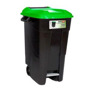 WASTE BIN/GREEN/WITH PEDAL/WHEELS/120L
