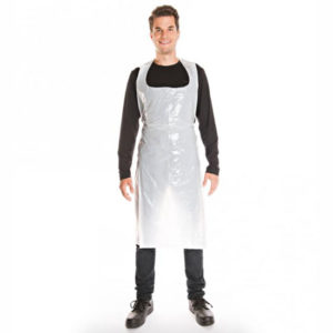 PE APRONS ON THE ROLL/WHITE/117cm x 70cm/16my/200pcs